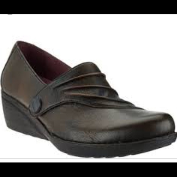 3f1c011a05aa05 Dansko Leather Wedge Slip-on with Ruched Detail